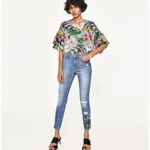 ZARA embroidered denim